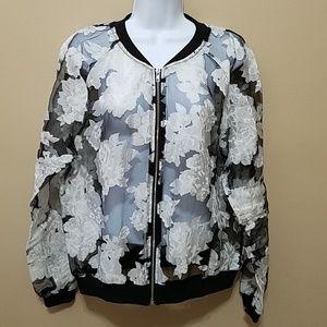 Windsor sheer black floral jacket zip up evening L